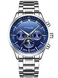 Alienwork Automatik Armbanduhr Herren Damen Uhr Edelstahl Armband Metallarmband Metallband silber Automatikuhr Herrenuhr Damenuhr Kalender blau