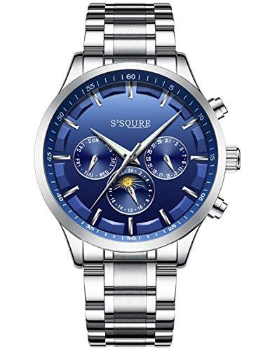 Alienwork mechanische Automatik Armbanduhr Multi-funktion Automatikuhr Uhr Herren Uhren elegant modisch Metall blau silber S004GA1-G-03