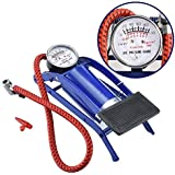 Ajudiya's High Pressure Foot Pump, Bike Motorbike Inflation Pump with Pressure Gauge, Foot Pedal Inflator Single Barrel Cylinder Air Pump Inflation Pump for Motorcycles, Bicycle Tyre Balls, Tires Car