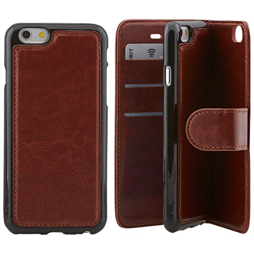 Price comparison product image High Quality Apple iphone 6 plus Case cover,  Apple iPhone 6 plus Brown Designer 2-1 Multi-function Detachable Magnetic 3 Card Slots Wallet Style Wallet Case Cover