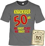 50 Geschenk-Set - Geburtstags-Shirt + Blechschild - Sprüche 50 Jahre : Knackiger 50iger Mal knackt es Hier & Endlich 50 offiziell - T-Shirt + Schild 50.Geburtstag Gr: L