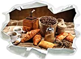 Aromatischer Kaffee mit Croissant, Papier 3D-Wandsticker Format: 62x45 cm Wanddekoration 3D-Wandaufkleber Wandtattoo