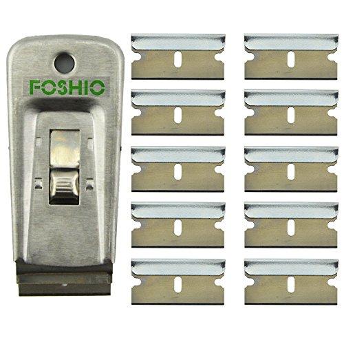 Preisvergleich Produktbild FOSHIO Professioneller Rostfreier Glasschaber mit 10 Ersatzklingen