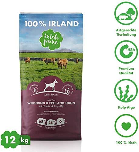 Irish Pure Adult Weiderind & Freiland-Huhn mit Kelp-Alge - Trockenfutter für Hunde, Hoher Fleischanteil, Vitamine, Getreidefrei, Sensitiv, Premium Hundetrockenfutter, Hundefutter für alle Rassen