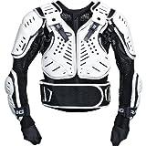 Pharao X Motorrad Protektorenhemd Kinder Protektoren Unterziehjacke 1.0, luftdurchlässig, flexibel, Daumenschlaufen, Netzmaterial, Schwarz/Weiß, L
