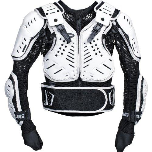 Pharao X Motorrrad-Protektor, Motorrad-Protektorenhemd Kinder Protektoren Unterziehjacke 1.0, luftdurchlässig, flexibel, Daumenschlaufen, Netzmaterial, Schwarz/Weiß, L