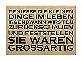 LUXECARDS POSTKARTE Holzpostkarte GENIESSE DIE KLEINEN DINGE Zitat Motivation