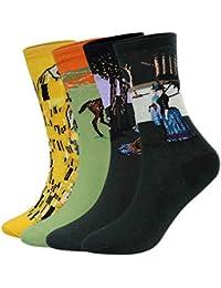 Aibrou Calcetines Mujer/Hombre Ocasionales Divertidos Impresos de Algodón de Pintura Famosa de Arte Calcetines