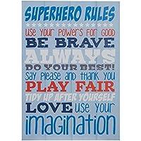 Premier Housewares Kid's Super Hero Rules Wall Plaque - Blue