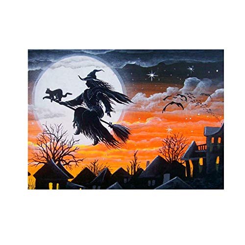 NKYSM Halloween Hexe 5D DIY voller Diamant Malerei Stickerei Kreuz Handwerk Stich Halloween Home Wall Decor