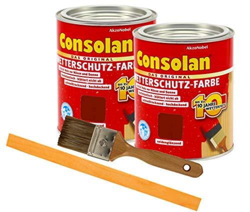 Consolan Wetterschutzfarbe deckend / 2x 0,75L schwedenrot/Holzschutzfarbe Holzfarbe bis zu 10 Jahre wetterbeständig für Holz und Zink Außen inkl. Pinsel & Rührstab