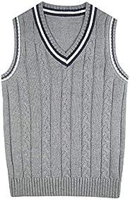 Chaleco de Punto Niño Niña Jersey Suéter Invierno Cálido sin Mangas Algodón Suave Ropa Estudiante con Cuello V