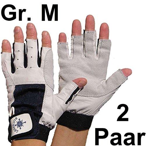2 Paar BluePort Damen Herren Segelhandschuhe Gr. M / 8 aus Leder - 5 Finger frei / fingerlos