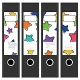4 x Akten-Ordner Etiketten/Design Motiv Viele bunte Sterne/Aufkleber/Rücken Sticker/für breite Ordner/selbstklebend / 6cm breit