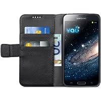 vau The Book schwarz - ECHT-Leder Case, Etui-Tasche für Samsung Galaxy S5
