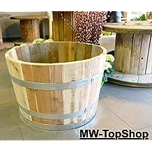 Sehr stabiles Hartholz Eichen-Holz - Fass hoch ø50cm, Blumentopf, Blumenkübel, Holzfass als Pflanzkübel - Weinfass, Bottich, Holzkübel oder Miniteich Holzfass halbiert (Durchmesser 50cm)