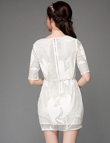 LYQ/ Robe Aux femmes Grandes Tailles Grandes Tailles / Sexy / Vintage / Soirée / Travail / Décontracté , Couleur Pleine / Mosaïque Col Arrondi white-5xl
