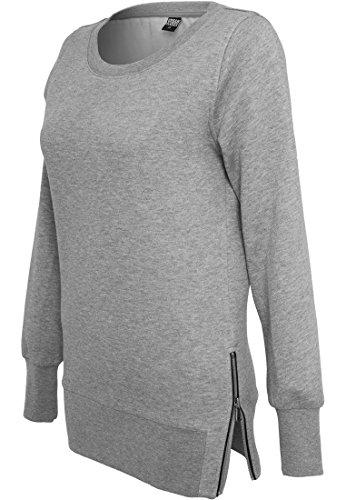 Urban Classics Damen Sweater Side Zip Long Grey