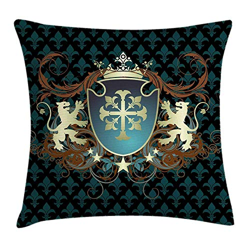 Medieval Throw Pillow Cushion Cover by Ambesonne, Heraldic Design of a Middle Ages Coat of Arms Cross Crown Lions Swirls, Decorative Square Accent Pillow Case, 18 X 18 Inches, Teal Black Cinnamon Dragon Silk Coat