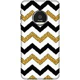 CaseGuy CN2133 Designer Printed Back Case Cover Moto E4 Plus (Stripe Lines :: Golden And Black Stripes :: Striped :: Zig Zag :: Bling)