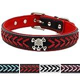 Vcalabashor™ geflochtene Leder-Hundehalsbänder, mit coolen Totenköpfen besetzt, Stylisch geflochten, weiches und gepolstertes Hundehalsband, für kleine, mittelgroße und große Rassen