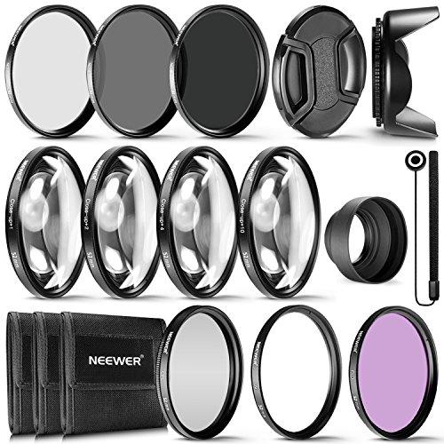 Neewer® 52mm komplett Objektivfilter Zubehör-Kit für Objektive mit 52mm Filter Größe: UV CPL FLD Filter Set + Macro Close Up Set (+ 1+ 2+ 4+ 10) + ND Filter Set (ND2ND4ND8) + weiteres Zubehör