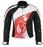 Ledershop-online B-07 Bangla Damen Motorrad Jacke Textil Cordura600 rot gemustert XXXL