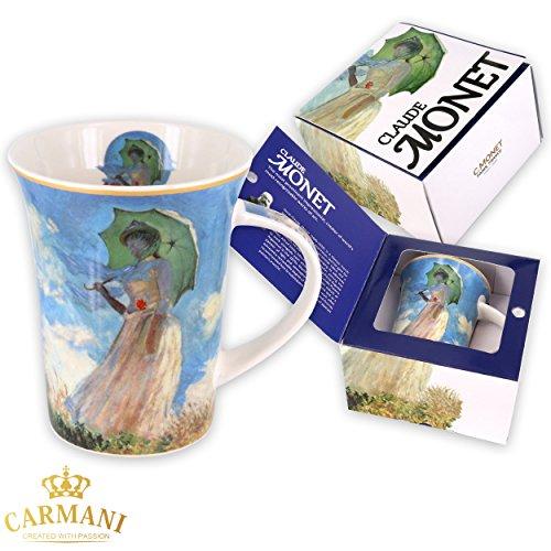 CARMANI - Kaffeetasse oder Teebecher aus Porzellan mit Monet 'Frau mit Sonnenschirm' 250 ml