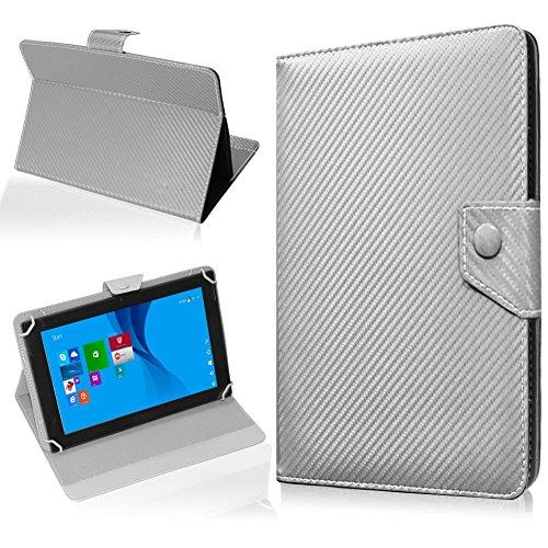NAUC Tablet Hülle für CSL Panther Tab 10 Tasche Schutzhülle Cover Case Carbon, Farben:Silber