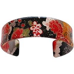 N&N Encontrar Japón japonés Kyoto Chirimen pulsera (negro/rojo)