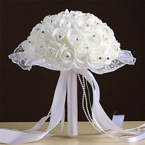 Longra Crystal Rosen Künstliche Rose Kunstblumen Blume Perle Brautjungfer Hochzeit Bouquet Bridal Gefälschte Seidenblumen Rosen Blumensträuße Geschenke (E)