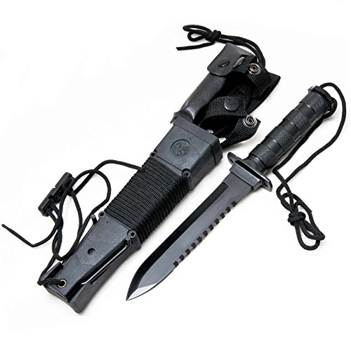 Coltello Survival Rambo Nero H6 Kit Sopravvivenza Torcia
