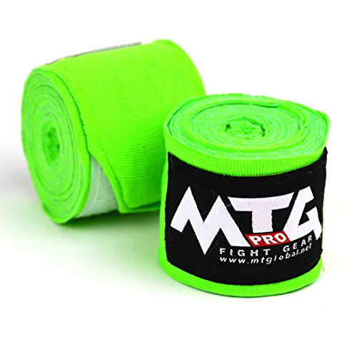 MTG Pro 5m Elasticated Hand Wraps - Lime Green
