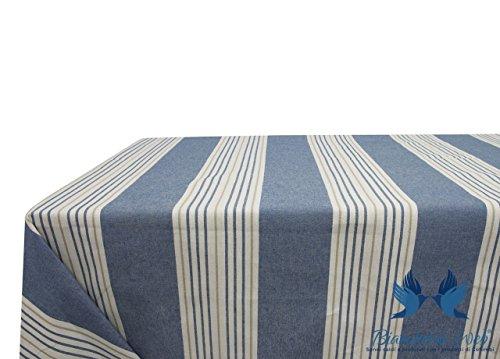 Nappe en coton mélangé dessin righine 140x240 bleu
