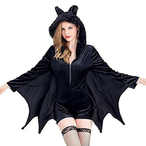 Imagen de halloween bat disfraces para las mujeres negro cozy sorceress angel reina de la bruja partido cosplay escudo de abrigo xxx large