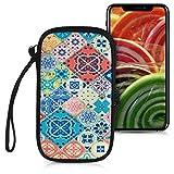 kwmobile Handytasche für Smartphones L - 6,5' - Neopren Handy Tasche Hülle Cover Case Schutzhülle - Marokkanische Fliesen Mehrfarbig Design Blau Rot Hellbraun - 16,2 x 8,3 cm Innenmaße