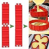 Kuchenformen, Tortenring Verstellbar, Silikon Form, Backform, Fondant Zubehör, Cake Mould, DIY eine Vielzahl von Formen (rot) - Lanbao