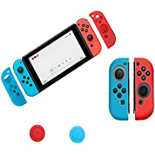 Zorbes Anti-Slip Silicone Joy Con Gel Guards Skin Cover with Thumb Stick Caps for Nintendo Switch Joy Con Controller