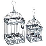 AC-Déco Lot de 2 cages à oiseaux - Niena - Métal - Gris