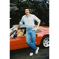 Tom Selleck 24x36inch (60x91cm) Poster posing by Ferrari 308 GTS as Magnum P.I.
