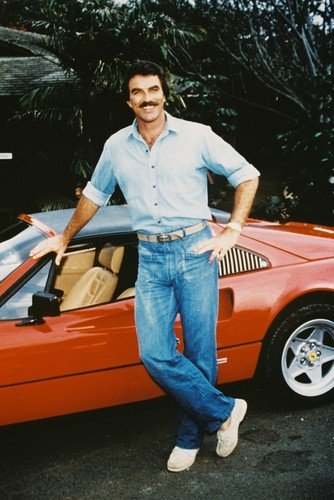 Tom Selleck 24x36inch (60x91cm) Poster posing by Ferrari 308 GTS as Magnum P.I.