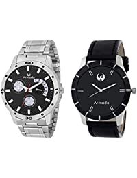 Armado AR-BLK-7193 Combo Of 2 Hot Black Analog Watches-For Men