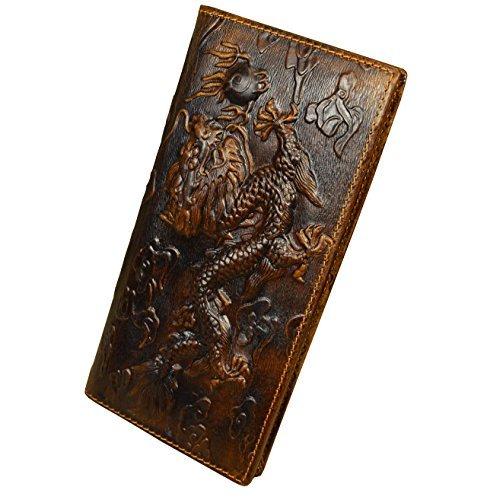 Echtes Leder Lange Brieftasche mit Reißverschluss Tasche Vintage Bifold Scheckheft Geldbörse (Embossed Dragon) (Leder Geldbörse Scheckheft Herren)