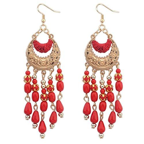 Mujers Pendientes,Xinan Bohemia con Flecos Gran Colgante de los Granos Pendientes Largos (Rojo)