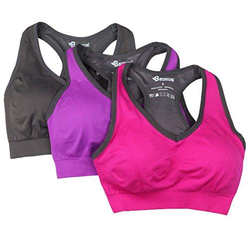Baomosi Damen Sport-BH, nahtlos, für hohe Belastungen, amerikanischer Rückenausschnitt - L(Fit For 34D/36C/36D/38A/38B/40A) - Grey+Hot Pink+Purple (Sport-bh 34d)