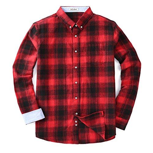 Mocotono Herren Langarm Kariertes Hemd Baumwolle Flanell Hemd mit Super Qualität Rot M