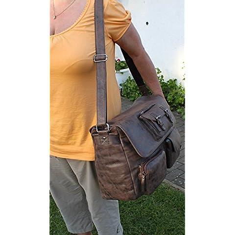 Borsa a tracolla G8700marrone cartella borsa 45cm offerta speciale pelle Greenburry/lefox