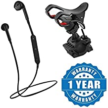 Captcha S6 Bluetooth Wireless Sport Music Headset With 360 Rotating Universal Safe Steering Wheel For Bike Bicycle Mount Holder Clip Anti-Slip Bracket Compatible With Xiaomi, Lenovo, Apple, Samsung, Sony, Oppo, Gionee, Vivo Smartphones (One Year Warranty)