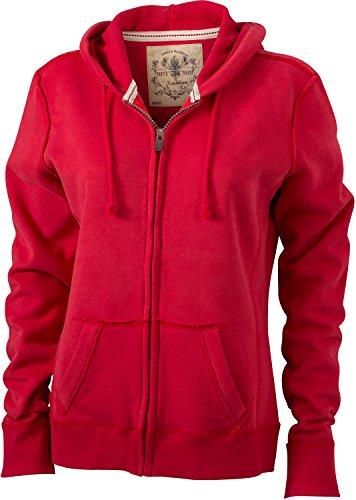 JN942 Ladies´ Vintage Hoody Jacke Sweatjacke Sweatshirt Kapuze Red