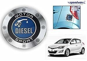 Speedwav Car Fuel Lid Vinyl Diesel Sticker BLUE ROUND-Hyundai i20 Elite